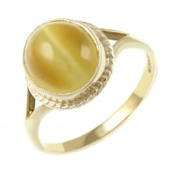 9ct yellow gold 10x8mm oval catseye ring.
