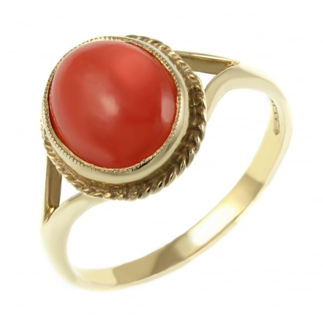 9ct yellow gold 10x8mm oval coral ring.