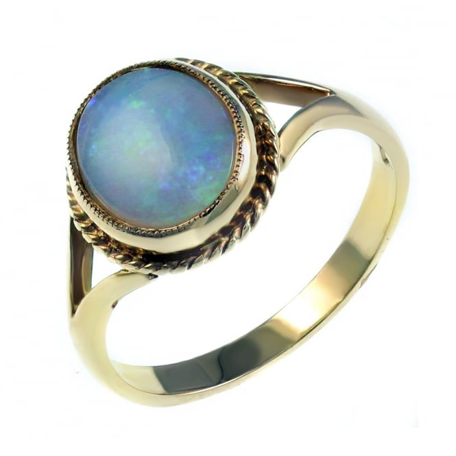 9ct yellow gold 10x8mm oval nautral opal ring.
