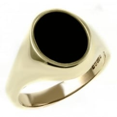 9ct yellow gold 10x8mm oval onyx signet ring.