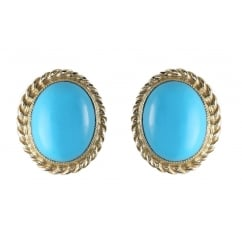 9ct yellow gold 10x8mm oval turquoise stud earrings.