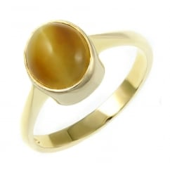 9ct yellow gold 10x8mm tigers eye ring.