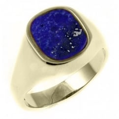 9ct yellow gold 12x10mm cushion lapis signet ring