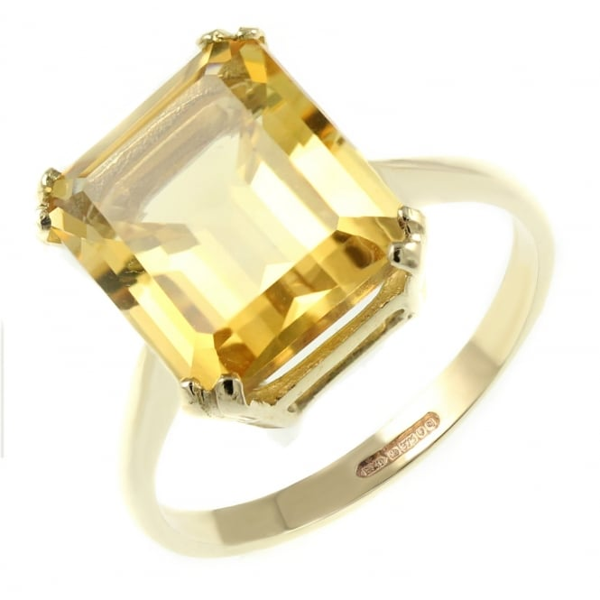 9ct yellow gold 12x10mm emerald cut citrine ring.