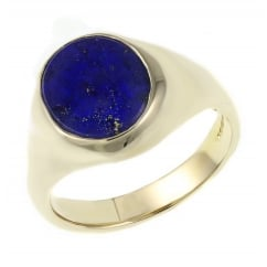 9ct yellow gold 12x10mm lapis signet ring