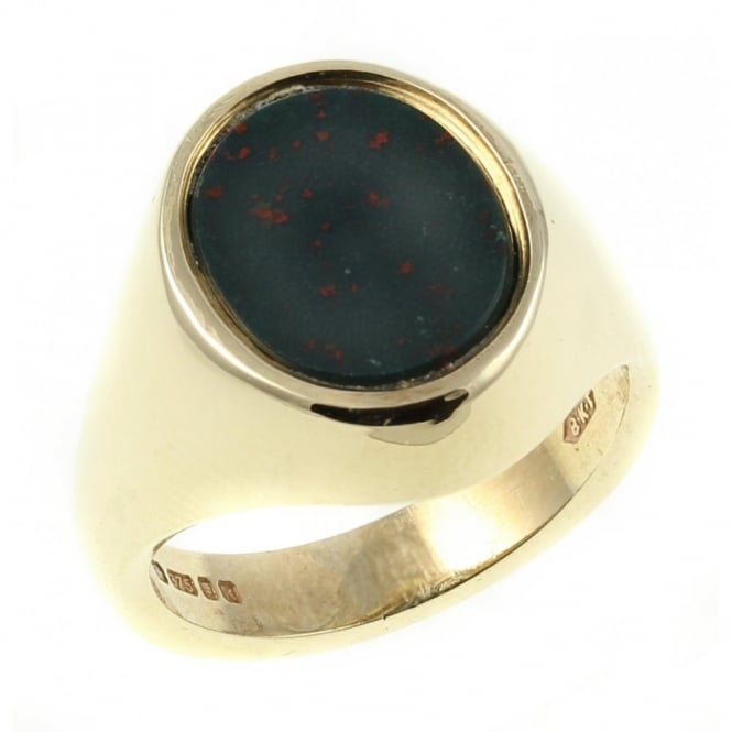 9ct yellow gold 12x10mm oval bloodstone signet ring.