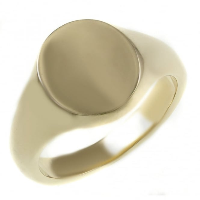 9ct yellow gold 13x11mm heavy oval signet ring