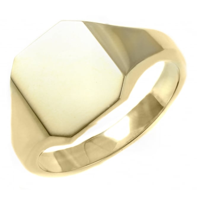 9ct yellow gold 13x12mm octagonal signet ring