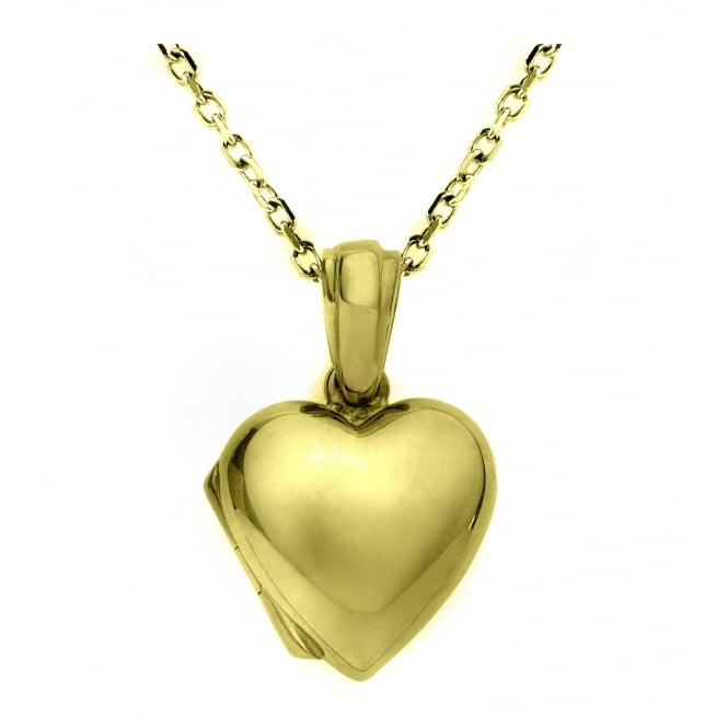 9ct yellow gold 14mm heart shaped locket.