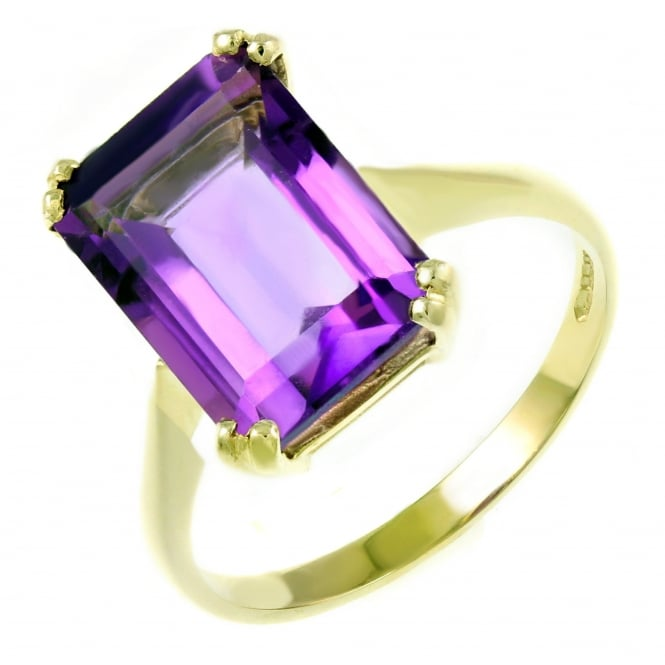 9ct yellow gold 14x10mm emerald cut amethyst ring