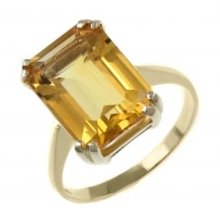 9ct yellow gold 14x10mm emerald cut citrine ring.