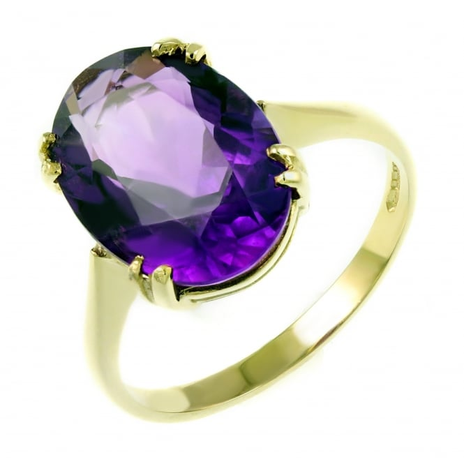 9ct yellow gold 14x10mm oval amethyst ring.