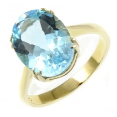 9ct yellow gold 14x10mm oval blue topaz ring.