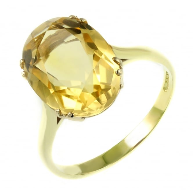 9ct yellow gold 14x10mm oval citrine ring.