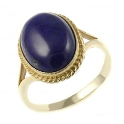 9ct yellow gold 14x10mm oval lapis ring.
