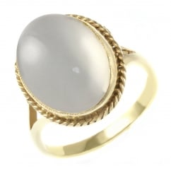 9ct yellow gold 14x10mm oval moonstone ring.