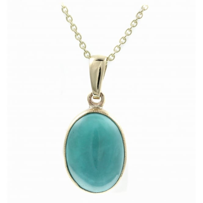9ct yellow gold 14x10mm oval turquoise pendant.