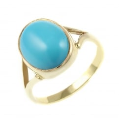 9ct yellow gold 14x10mm oval turquoise ring.