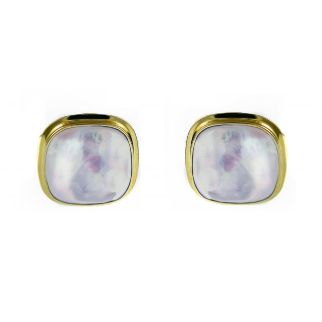 9ct yellow gold 14x14mm mother of pearl swivel cufflinks