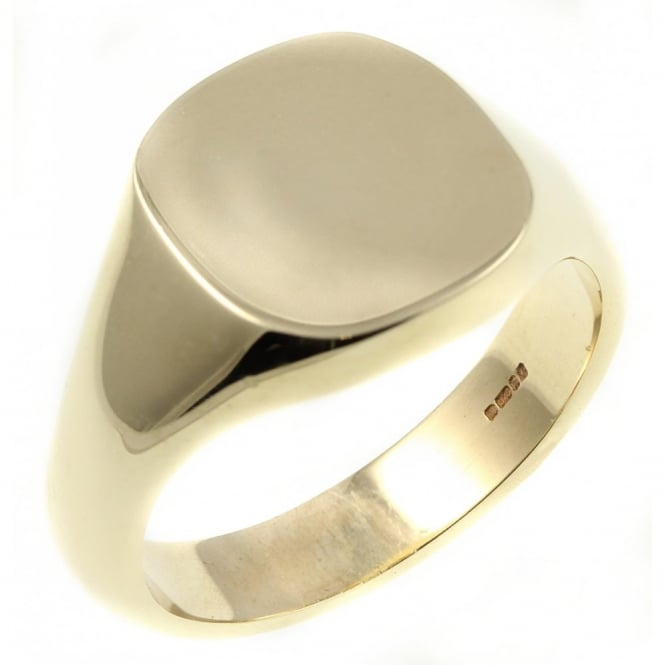 9ct yellow gold 15x14mm heavy cushion signet ring