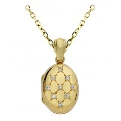 9ct yellow gold 16x12mm diamond set oval locket.