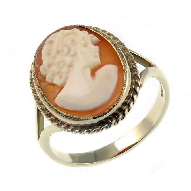 9ct yellow gold 16x12mm oval cameo ring.