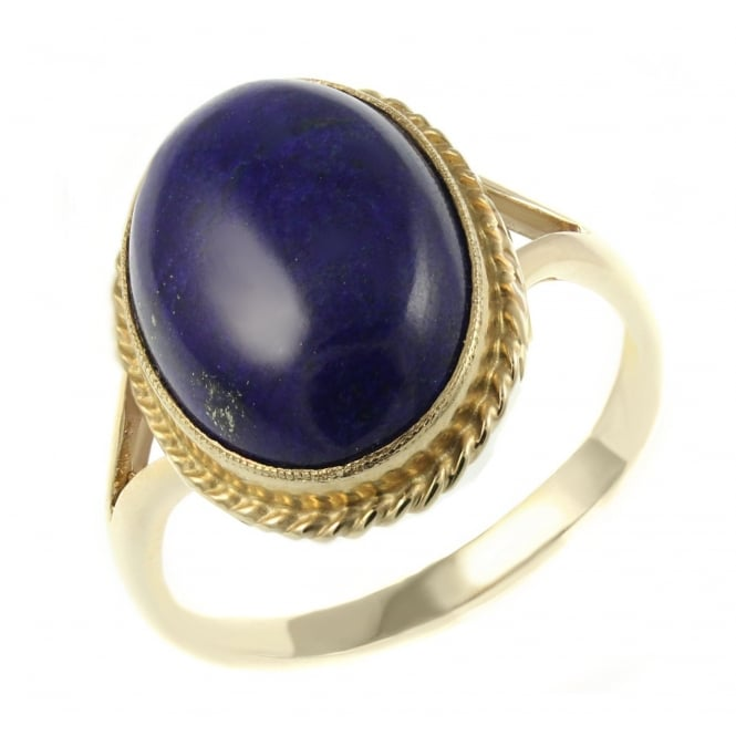 9ct yellow gold 16x12mm oval lapis ring.