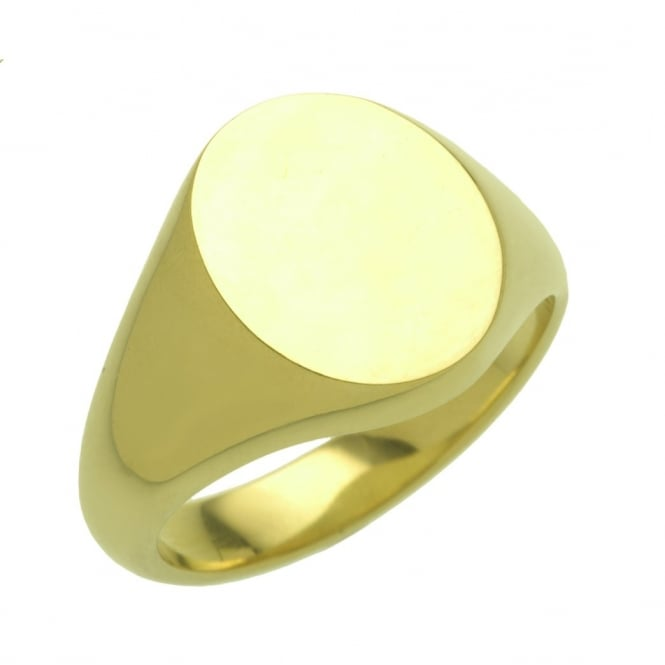 9ct yellow gold 16x13mm oval signet ring.