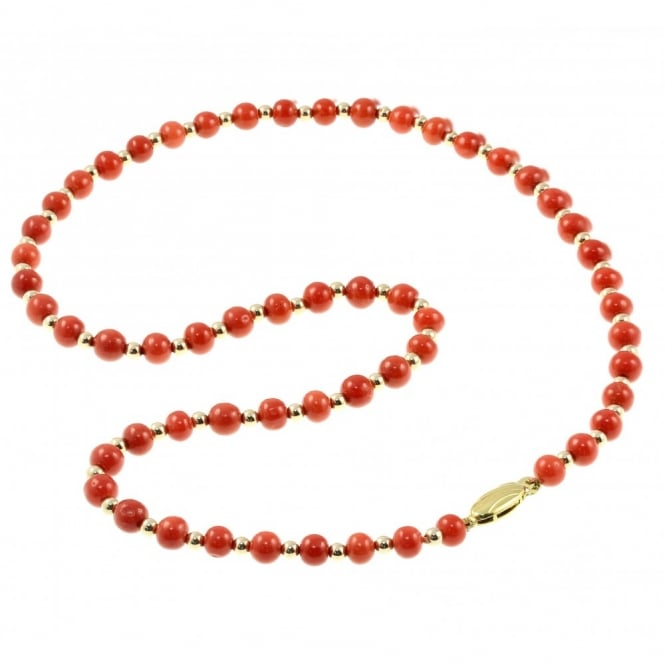 "9ct yellow gold 18"" coral & gold small bead necklace."