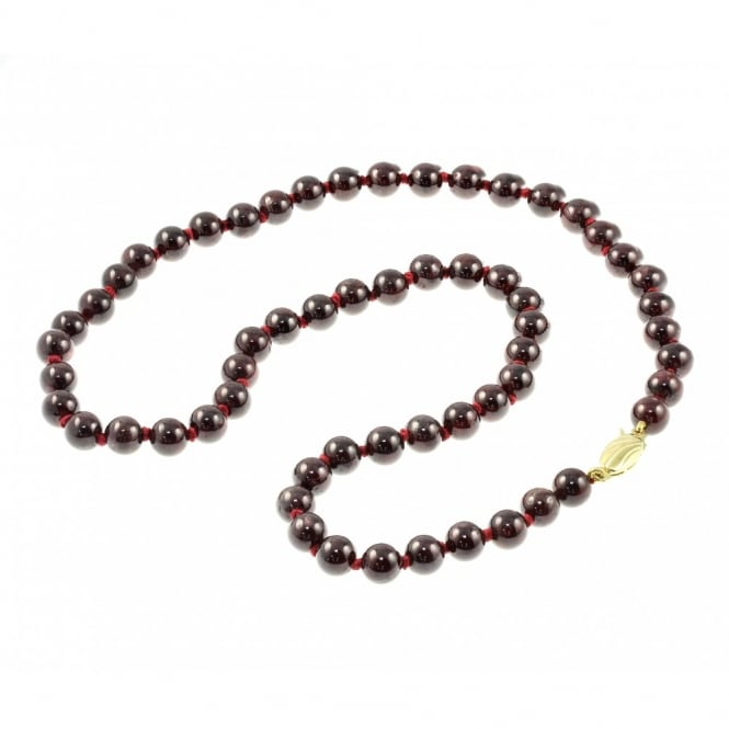 "9ct yellow gold 18"" garnet small bead necklace."