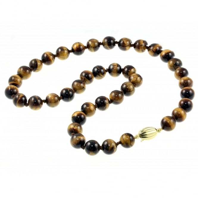 "9ct yellow gold 18"" large tigers eye bead necklace."