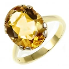9ct yellow gold 18x13mm oval citrine ring.