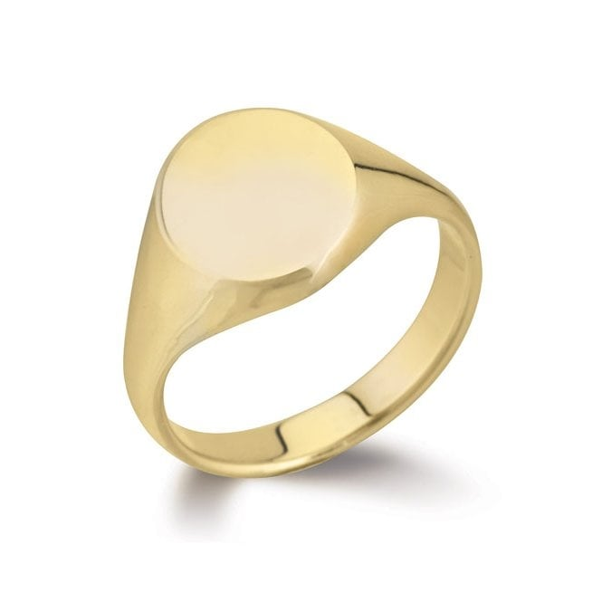 9ct yellow gold 18x14mm heavy oval signet ring