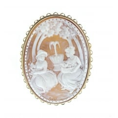 9ct yellow gold 20x15mm sardonyx cameo brooch.