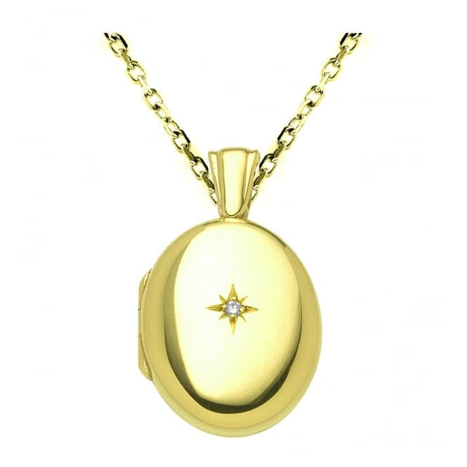 9ct yellow gold 25x20mm diamond set oval locket.