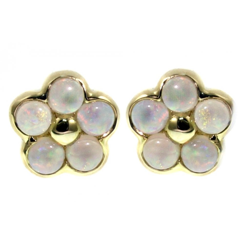 3d9bbda2b 9ct yellow gold 3x3mm opal flower cluster stud earrings - Jewellery from Mr  Harold and Son UK