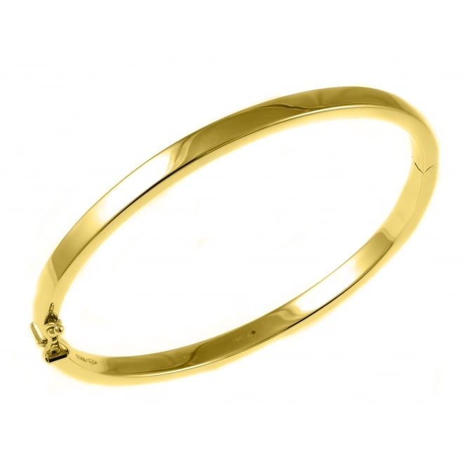9ct yellow gold 4.00mm thick solid oval solid bangle.