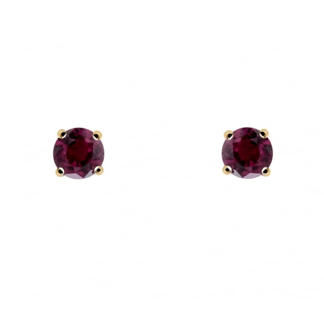 9ct yellow gold 4x4mm ruby stud earrings