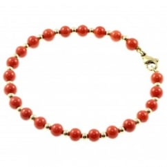 9ct yellow gold 5.5mm coral & 3mm gold bead bracelet.