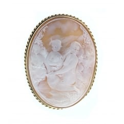 9ct yellow gold 55x20mm sardonyx cameo brooch.
