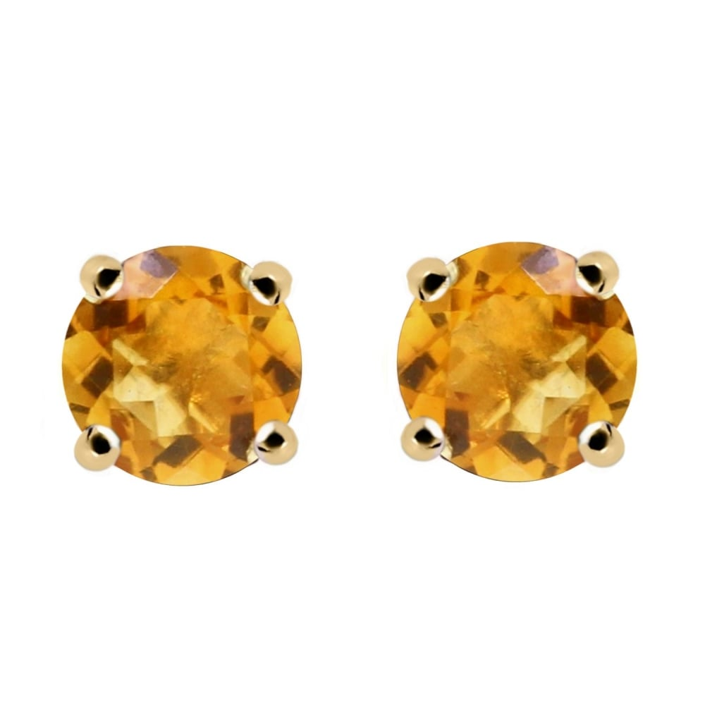9ct Yellow Gold 5mm X Round Citrine Stud Earrings