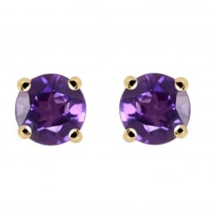 9ct yellow gold 5x5mm round amethyst stud earrings.