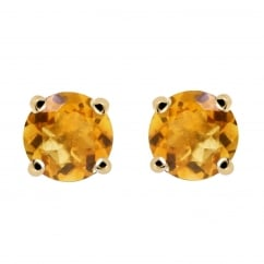 9ct yellow gold 5x5mm round citrine stud earrings.