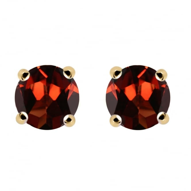 9ct yellow gold 5x5mm round garnet stud earrings.