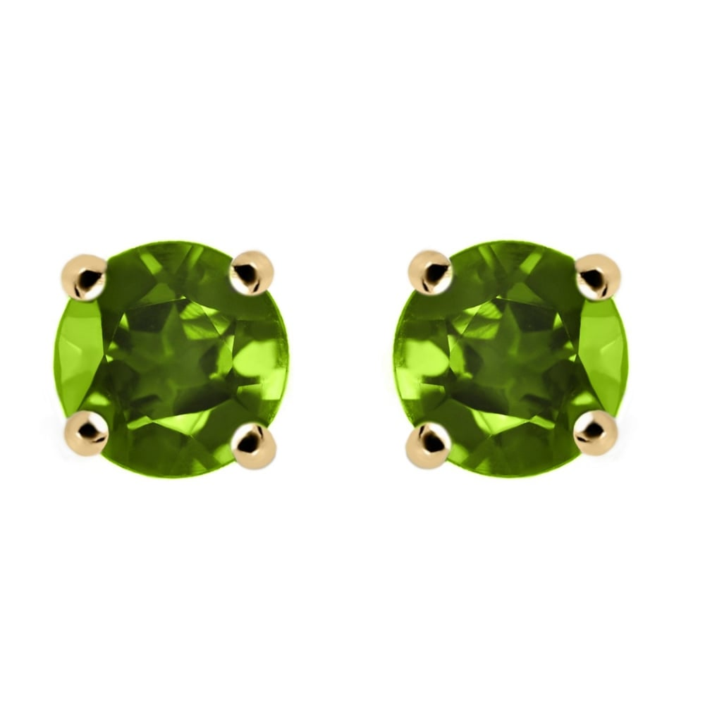 com earrings white natural in jewelry mm round dp amazon set stud peridot gold