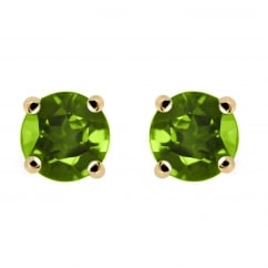 9ct yellow gold 5x5mm round peridot stud earrings.