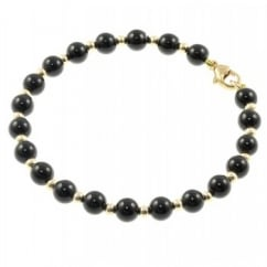 9ct yellow gold 6.5mm onyx 3.0mmn gold bead bracelet.