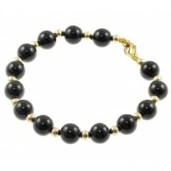 9ct yellow gold 6.5mm onyx 3mm gold bead bracelet.
