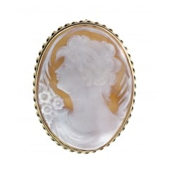 9ct yellow gold 60x25mm sardonyx cameo brooch.