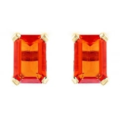 9ct yellow gold 6x4mm emerald cut fire opal stud earrings.
